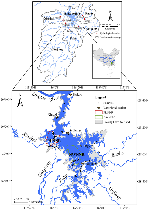 Geographical location of the Poyang Lake wetland as well as samples, nature reserves, and gauging stations. PLNNR: Poyang Lake National Nature Reserve; NWNNR: Nanji Wetland National Nature Reserve.