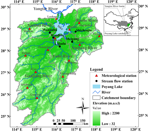 Location of Poyang Lake catchment, its sub-catchments and hydrometeorological gauging stations.