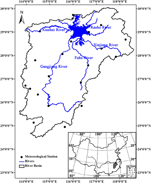 Locations of Poyang Lake basin, river networks, and meteorological stations.