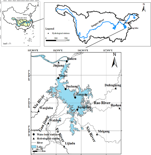 Location of study area and hydrological stations.