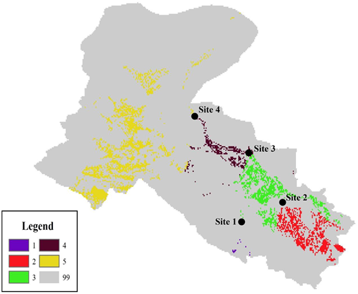 Division of the irrigated area by the control site method (values of 1, 2, 3, 4 and 5 represent the irrigated area of Qilian, Minle & Shandan, Zhangye, Linze & Gaotai, and Jiuquan, respectively).