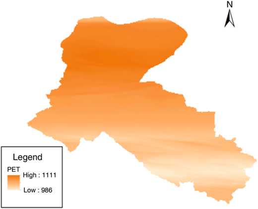 Spatial distribution of annual average PET (1990–1993).