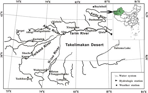 Map of the Tarim River watershed.