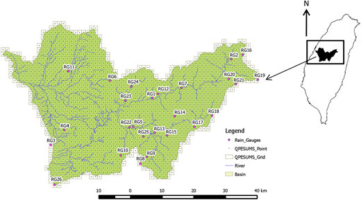 Locations of 1336 QPSESUMS grids and 26 raingauges in Wu River watershed.