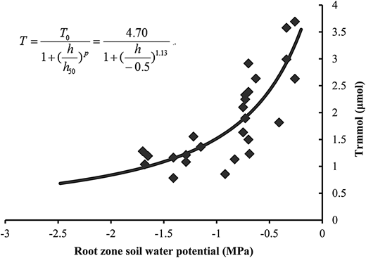 Fitting result of the relationship between root zone water potential and the sunlit leaf transpiration rates.