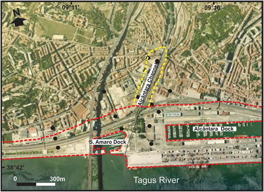 Location of area of tidal influence and of the salt wedge. The dotted lines bordering the Tagus River, Alcântara Dock and stretching a few hundred metres inland indicate the area with saltwater intrusion. The dotted line surrounding the Alcântara Channel indicates the area of freshwater with strong tidal oscillation. Please refer to the online version of this paper to see this figure in colour: http://dx.doi.org/10.2166/nh.2016.203.