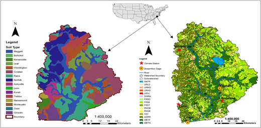The 311,685 ha Waccamaw River watershed used in SWAT. Meggett, Croatan, and Norfolk are the dominant soils on the floodplains. Overall, Rains and Meggett are the two major soil types in the Waccamaw River watershed.