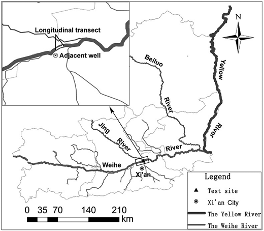 Map of the study area, showing the location of test sites in the catchment.