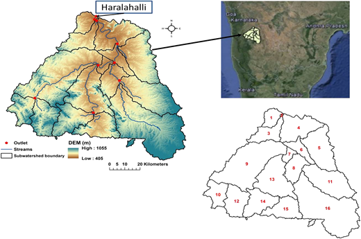 Study area of Tungabhadra Basin (up to Haralahalli gauge station).