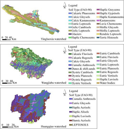 Horizontal soil classification in study watersheds.