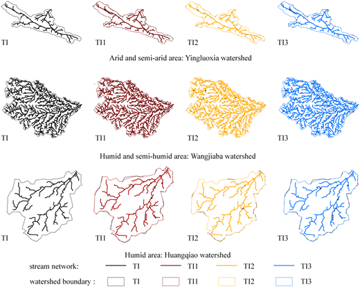 Stream networks based on TI and TI′ in three watersheds.