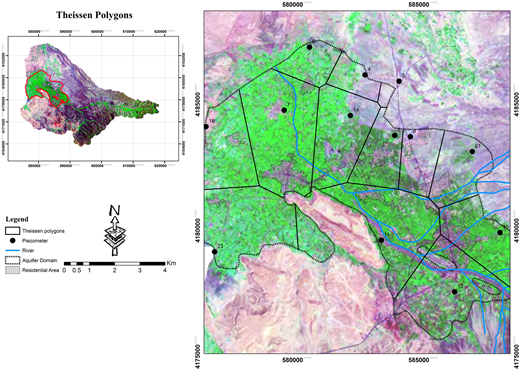 Thiessen polygons belonging to the aquifer domain piezometers.