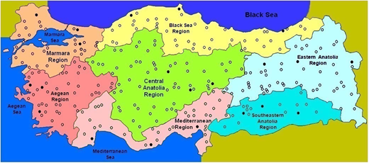 Geographical locations of the meteorological stations in Turkey. Open circle, training data; black circle, validation data.