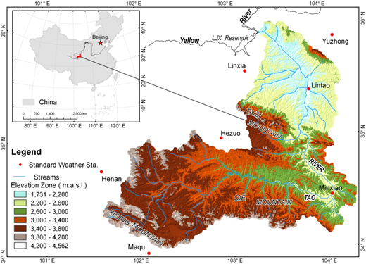 Location of the TRB and the meteorological stations used in this study. The elevation zone was divided from 1,731 m to 4,562 m. The Taizi Mountain serves as a boundary to divide the TRB into two regions, the Gannan Plateau in the upper and middle stream and the Longxi Loess Plateau in the low stream region.
