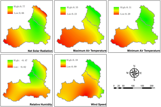 Spatial distribution of ET0 sensitivity coefficients for meteorological variables.