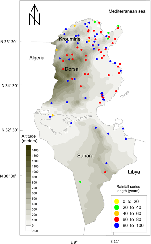 Rainfall monitoring network and relief map.