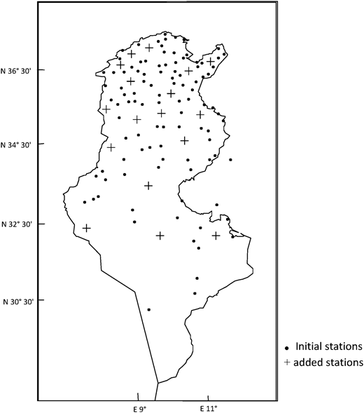The spatial repartition of the added rain-gauges.