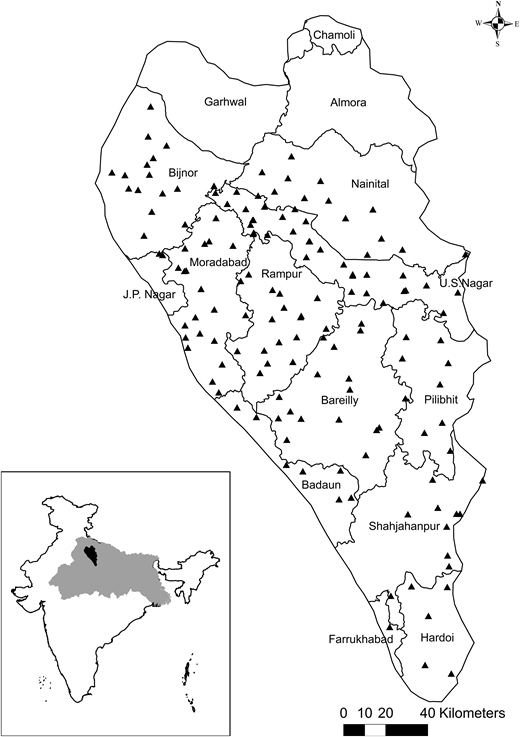 Location of the Ramganga sub-basin (black) in the Ganges basin, district boundaries and names within Ramganga, and CGWB well locations (n = 151 wells – triangles).