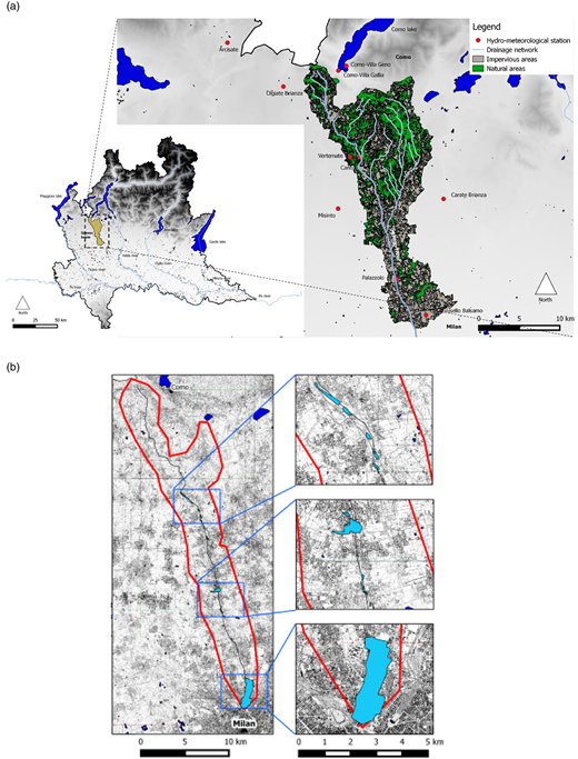 (a) Location of the natural portion of Seveso catchment in the Lombardy region (on the left), hydro-meteorological stations and the land use (on the right). (b) Example of flooded areas along Seveso river during the event of November 14–15, 2014.