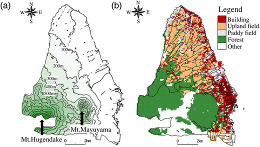 Altitude and land use map of Shimabara; (a) altitude and (b) land use.