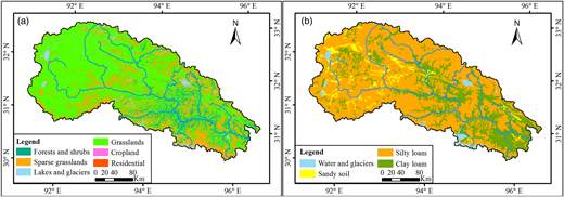 Distribution of (a) land use and (b) soil type in the Naqu River Basin.
