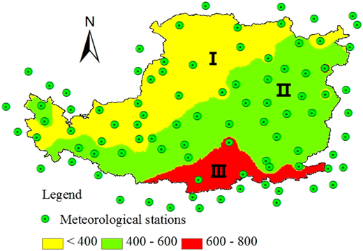 MAP in the last 30 years on the Loess Plateau (Roman numerals I, II, and III represented the three precipitation gradients: I: MAP < 400 mm; II: 400 mm < MAP < 600 mm; III: MAP > 600 mm).