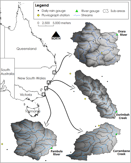 Map of eastern Australia with the location of the four study catchments, showing the catchment boundaries, rainfall and runoff gauging stations, stream network and elevation gradient.