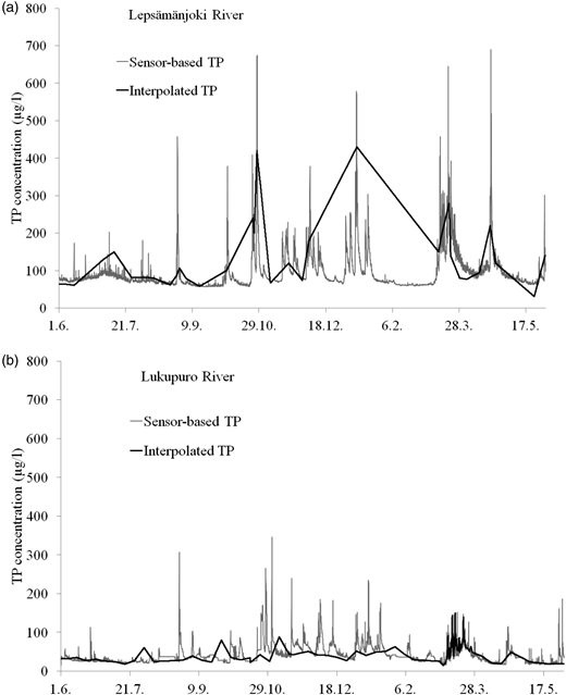 Hourly TP concentrations, based on sensor turbidity, and interpolated daily TP concentrations among manual samples in the Lepsämänjoki River (a) and the Lukupuro River (b).