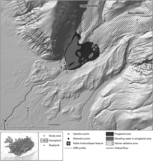 The lower part of the Virkisjökull catchment including the lower ablation zone and the proglacial lake area and outlet river based on 2013 extent. Points labelled on the map are: (1) east arm injection moulin; (2) west arm injection moulin May 2014 and August 2014; (3) glacier snout outflow monitoring point/proglacial river sink injection point; (4) lake outlet west monitoring point; (5) lake outlet east monitoring point; (6) proglacial river monitoring point (for proglacial foreland tracer test); (7) river dye injection point.