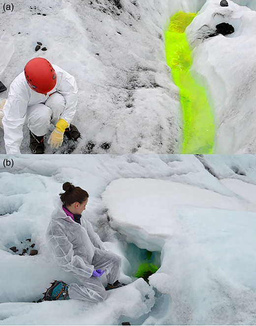 The eastern arm glacier injection moulin in September 2013 (a) and April 2014 (b).