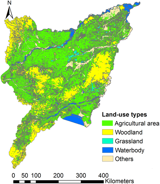 Land-use types of the SJP (obtained from remote sensing data, 2014). Figure obtained from remote sensing data provided by the Chinese Academy of Sciences.