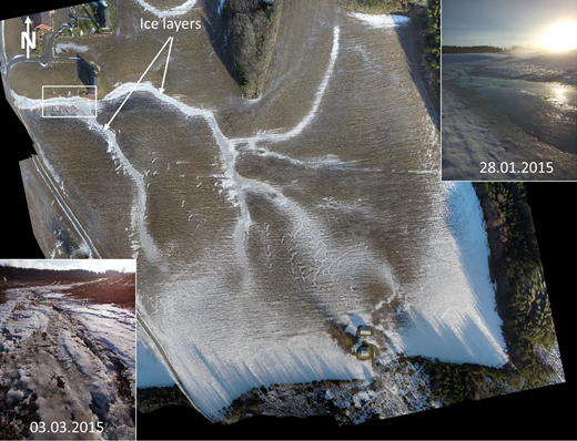 Aerial picture of snowmelt pattern in the study area, 20 February 2015. The white rectangle shows the area covered by the small photos of ice layers, taken 28 January and 3 March 2015.