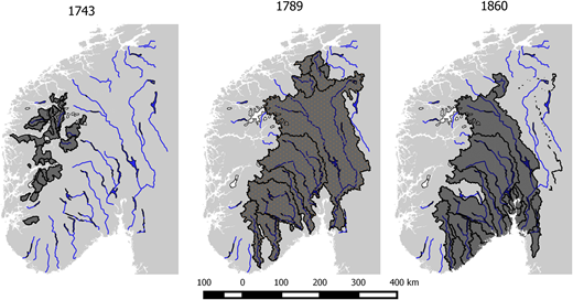 The geographical extent of the catchments affected by the floods Storeflaumen in 1743 (left) Storofsen in 1789 (middle), and Storflaumen 1860 (right).