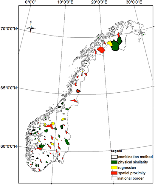 Spatial distribution of best performing methods. For each catchment, the color indicates which of the three standard regionalization methods (physical similarity, regression, spatial proximity) produced the best results. Catchments where the combination method outperformed the three other methods are highlighted by a thick black border.