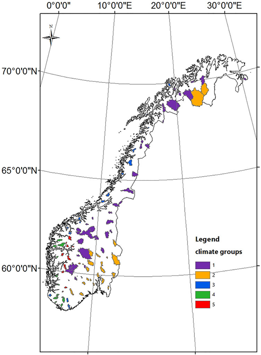 Climate regions classification in Norway.