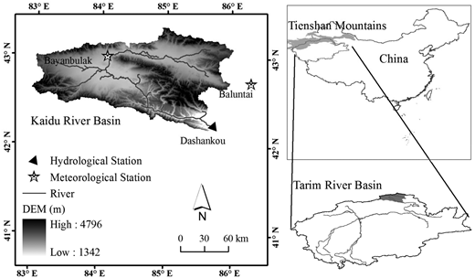 The topography, river system, meteorological stations (Bayanbulak and Baluntai) and hydrological station (Dashankou) of the Kaidu River Basin together with its location in the Tarim River Basin (bottom right) and China (top right).