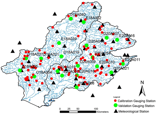 Streamflow gauging stations and meteorological stations in the study area.