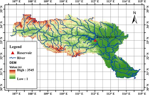 Terrain map of the Hanjiang River basin and Danjiangkou reservoir.