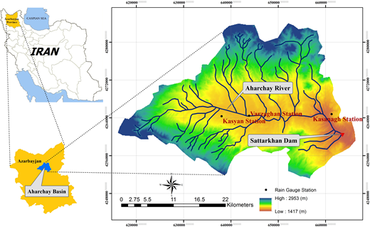 Rivers and subbasins of the Aharchay river basin.