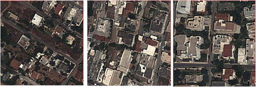 Satellite images of urban areas (100 × 100 m2) of the states (from left to right) 2, 3 and 4, respectively.