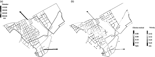 (a) Distribution of pipes diameters. (b) Velocity/chlorine zonation map (at 09:00).