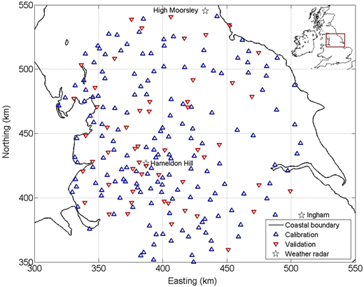Map of the study region, showing the locations of raingauges and C-band radars.