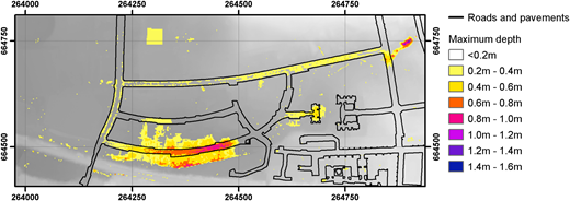 Maximum water levels observed per cell after 5 hours, shown at 0.2 m intervals.