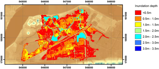 Inundation results after a 10-hour period for the 10 m resolution DTM used in Liang (2010).