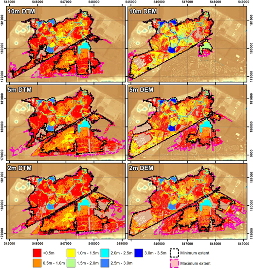 Inundation results after a 10-hour period using DEM and DTM at different spatial resolutions, and the minimum and maximum inundation extents with Manning values from 0.01 to 0.09.