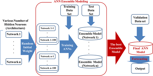 Schematic of ANN ensemble modeling for random initial weight parameters.