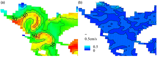 Zoom of the northwest part of Dragon Lake: (a) distributions of average water age for Scenario B2; (b) the surface residual current under Scenario B2. The unit of current scale is cm/s.