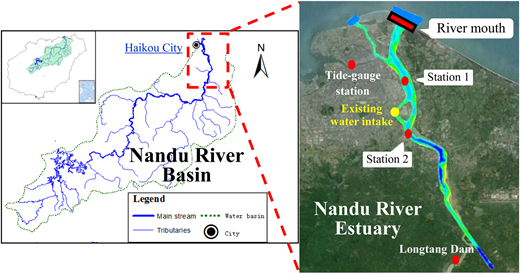 Location map of Nandu River Estuary. Stations 1 and 2 are salinity and velocity monitoring stations.