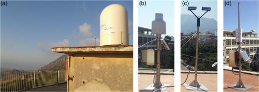 Meteorological sensors: (a) X-Band radar; (b) weighing rain gauge; (c) disdrometer; (d) weather station.
