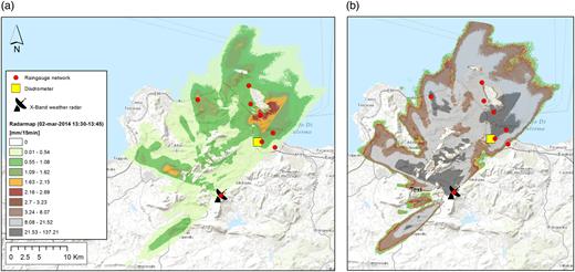 (a) Radar raw estimate and (b) corrected precipitation maps.